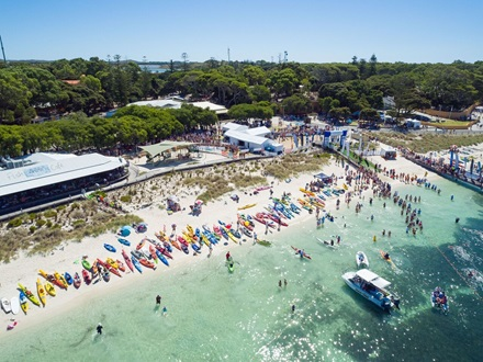 Finish line of Rottnest Channel Swim